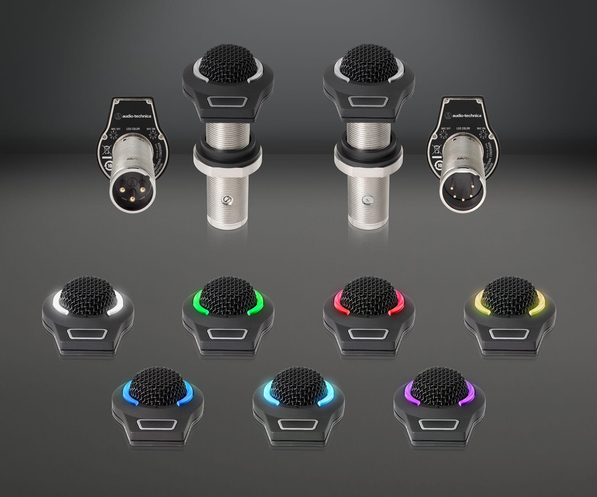 Audio-Technica Offers Its ES945O/FM3, ES947C/FM3, ES945O/FM5 and ES947C/FM5 Condenser Boundary Mics with Touch-Sensitive Control for Conferencing Applications