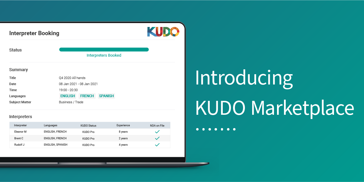 KUDO Marketplace: Raising the Bar for Online Multilingual Meetings